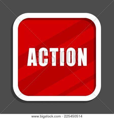 Action icon. Flat design square internet banner.