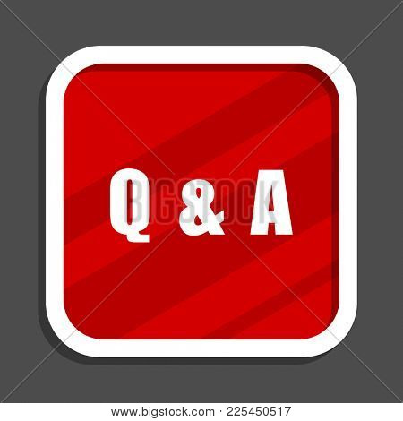 Question answer icon. Flat design square internet banner.