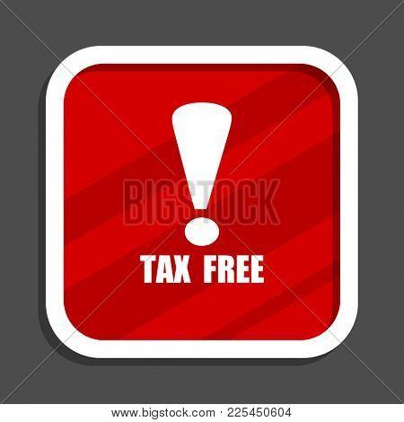 Tax free icon. Flat design square internet banner.