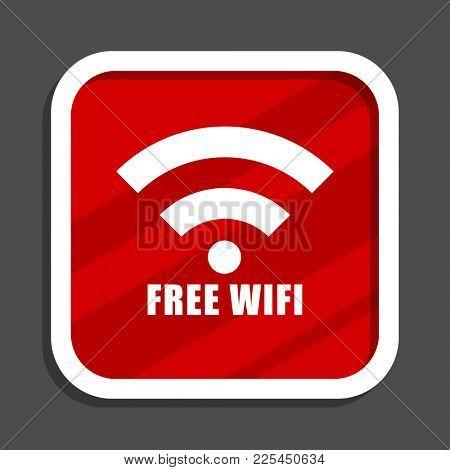 Free wifi icon. Flat design square internet banner.