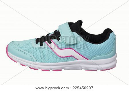 One Female Blue Sports Shoe On A White Background. Side View From The Outside