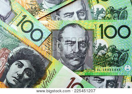 Australian money background.  One hundred dollar bills, full-frame.