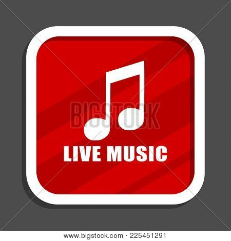 Live music icon. Flat design square internet banner.