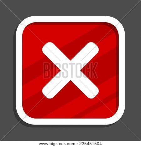 Cancel icon. Flat design square internet banner.