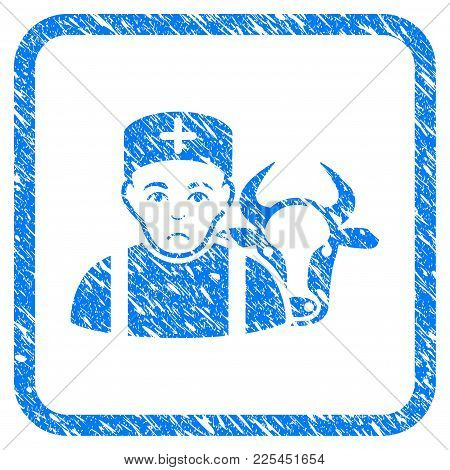 Cow Veterinarian Rubber Seal Stamp Imitation. Icon Vector Symbol With Grunge Design And Corrosion Te