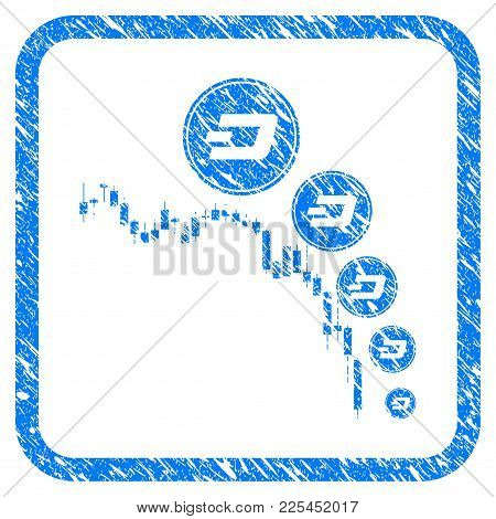 Candlestick Chart Dashcoin Deflation Rubber Seal Stamp Imitation. Icon Vector Symbol With Grunge Des