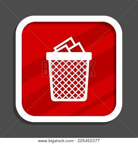 Trash can icon. Flat design square internet banner.