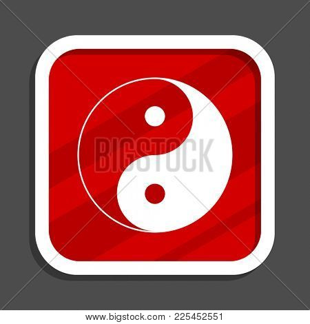 Ying yang icon. Flat design square internet banner.