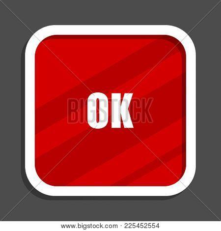 Ok icon. Flat design square internet banner.