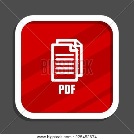 Pdf icon. Flat design square internet banner. ,