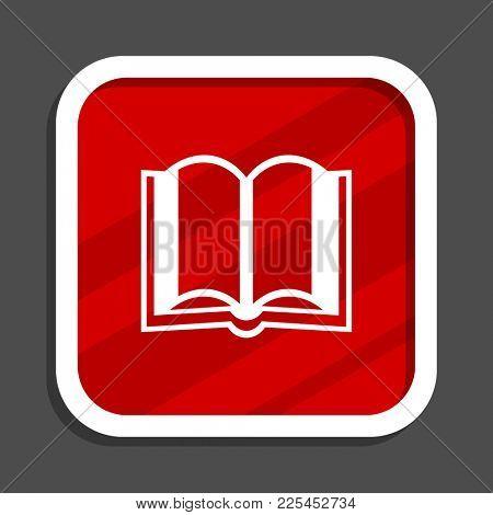 Book icon. Flat design square internet banner.