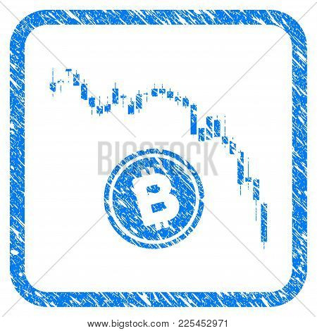 Candlestick Chart Bitcoin Fall Rubber Seal Stamp Watermark. Icon Vector Symbol With Grunge Design An