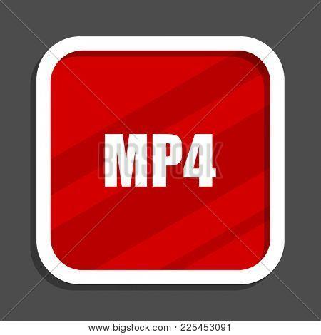 MP4 icon. Flat design square internet banner.
