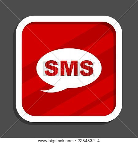 Sms icon. Flat design square internet banner.