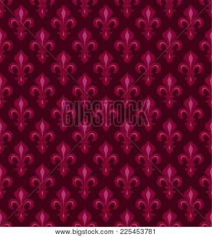 Royal Heraldic Lilies (fleur-de-lis) -- Dark Cherry Red Velvet, Seamless Pattern, Wallpaper Backgrou