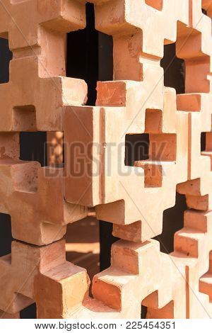 Orange Brick Wall Pattern In Perspective View With Depth Of Field