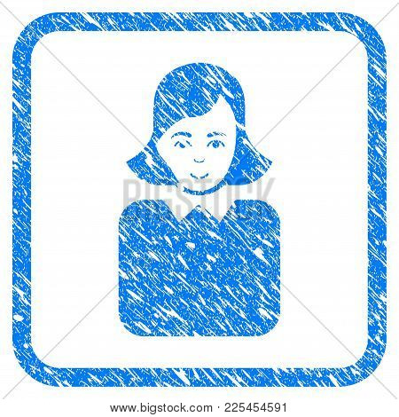 Bureaucrat Woman Rubber Seal Stamp Watermark. Icon Vector Symbol With Grunge Design And Unclean Text