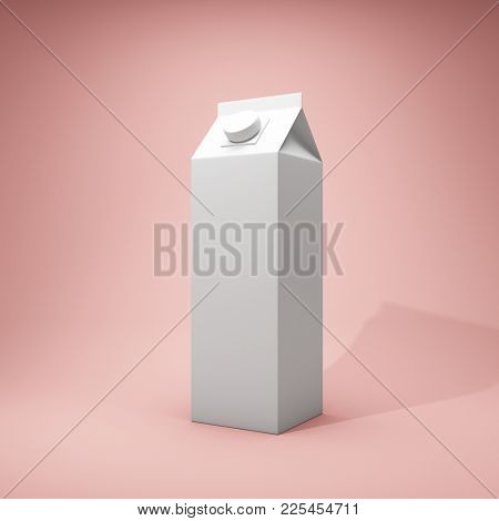 Blank milk package on pink background. 3D illustration.