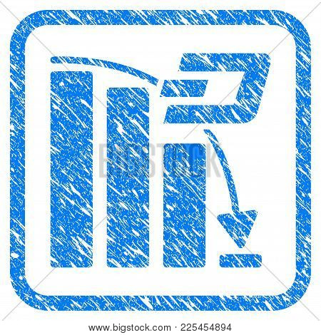 Dash Falling Acceleration Chart Rubber Seal Stamp Watermark. Icon Vector Symbol With Grunge Design A