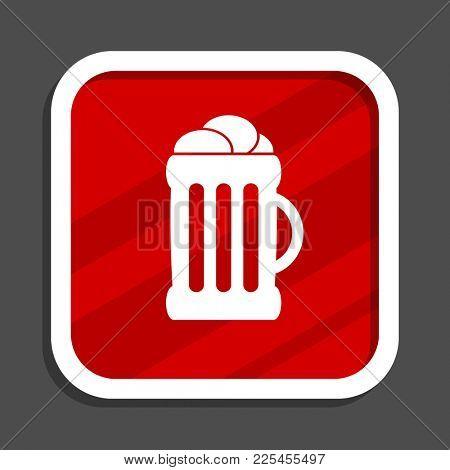 Beer icon. Flat design square internet banner.