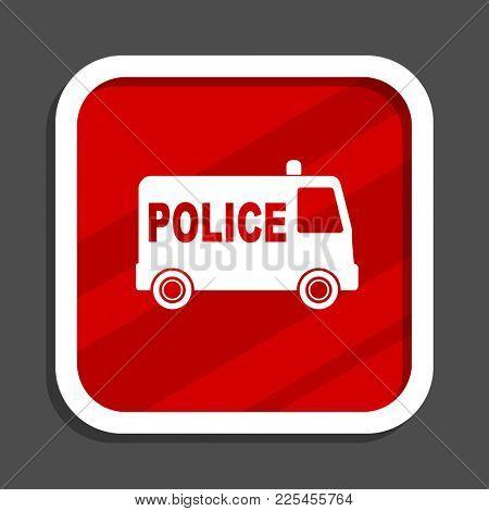 Police icon. Flat design square internet banner.