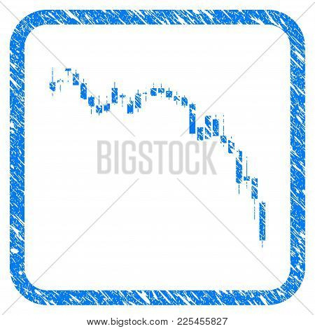 Candlestick Chart Down Rubber Seal Stamp Watermark. Icon Vector Symbol With Grunge Design And Corros