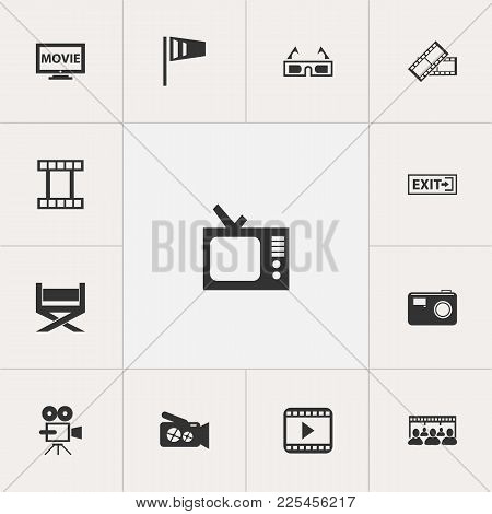 Set Of 13 Editable Filming Icons. Includes Symbols Such As Vintage Television, Film Tape, Cinematogr