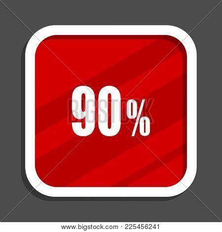 90 percent icon. Flat design square internet banner.