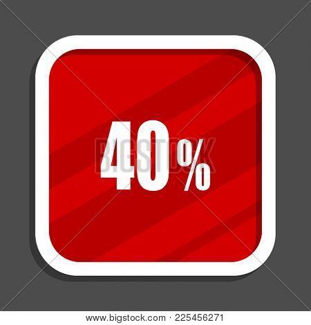 40 percent icon. Flat design square internet banner.