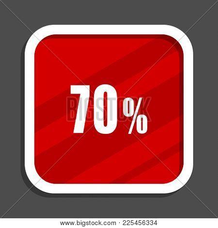70 percent icon. Flat design square internet banner.