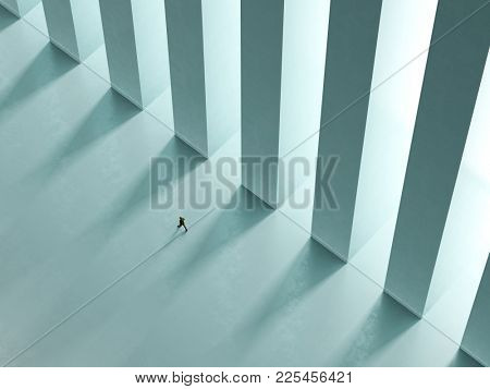 a lonely man walk the corridor with columns to the light 3D rendering