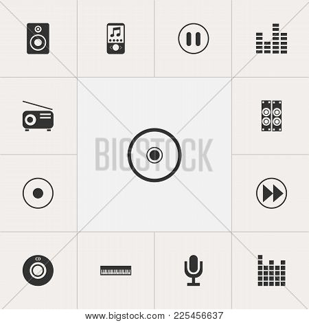 Set Of 13 Editable Music Icons. Includes Symbols Such As Sound Amplifier, Mp3 Player, Record And Mor