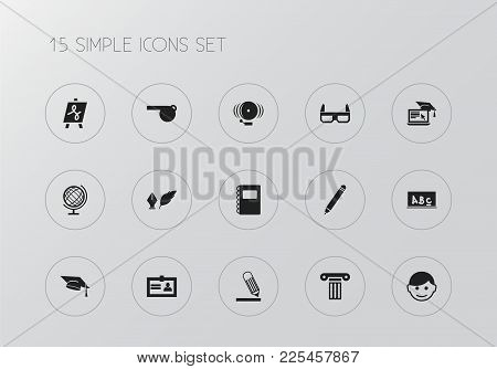 Set Of 15 Editable Teach Icons. Includes Symbols Such As Lesson, Flipchart, Student And More. Can Be