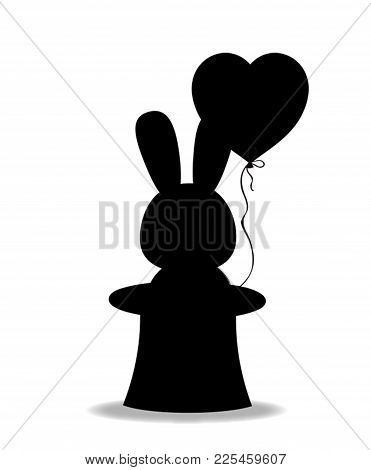 Black Silhouette Of Rabbit With Heart Shaped Balloon In The Black Magic Cylinder Hat Isolated On Whi