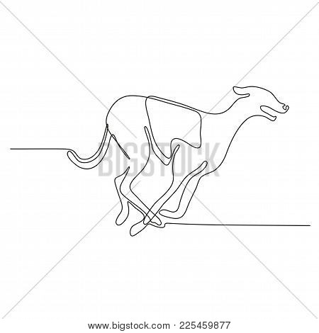Continuous Line Drawing Illustration Of A Greyhound Dog Racing Viewed From Side Done In Sketch Or Do