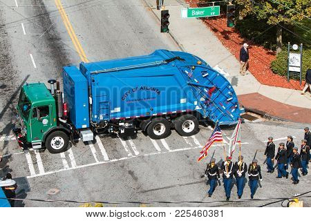 Atlanta, Ga - November 2017:  A City Of Atlanta Garbage Truck Is Used To Barricade A Side Street To