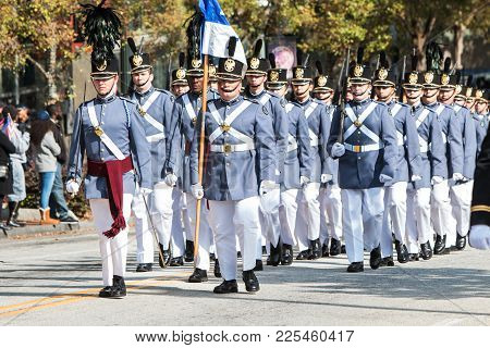 Atlanta, Ga - November 2017: High School Cadets From Riverside Military Academy March In The Georgia