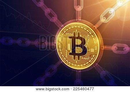 Bitcoin. Crypto currency. Block chain. 3D isometric Physical Bitcoin coin with wireframe chain. Blockchain concept. Editable Cryptocurrency template. Stock vector illustration