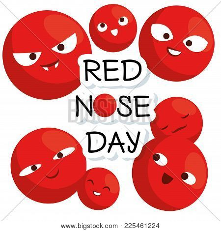 Red Nose Day With Red Nose Clown Faces Vector Illustration Graphic Design