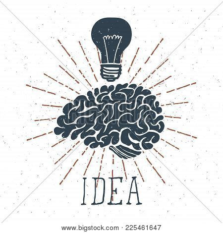 Hand Drawn Brain With Idea Lettering And Light Bulb. Vector Illustration