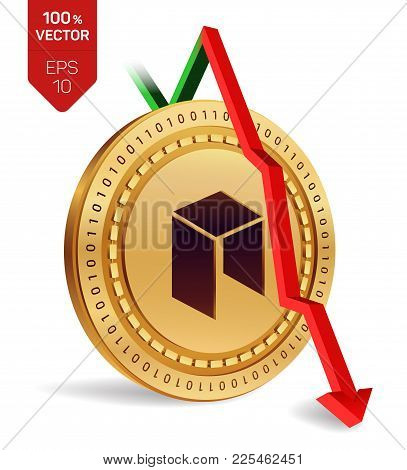 Neo. Fall. Red arrow down. Neo index rating go down on exchange market. Crypto currency. 3D isometric Physical Golden coin isolated on white background. Vector illustration