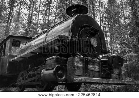 Black And White Photo Of An Antique Steam Locomotive Abandoned In The Forest. Northern Ontario, Cana