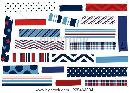 Collection Of Washi Tape Strips. Adhesive Tape Or Stickers. Vector Illustration.