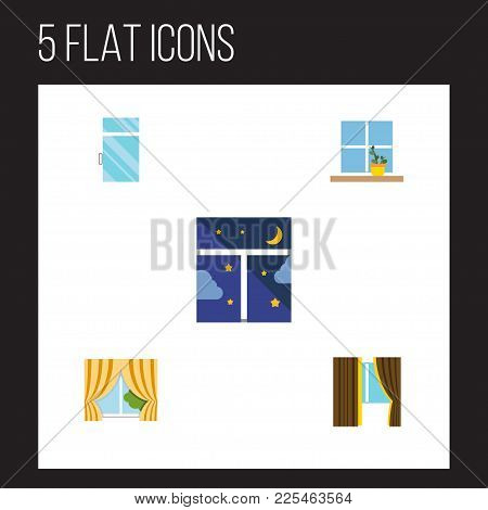 Icon Flat Frame Set Of Flowerpot, Clean, Glass Frame And Other Vector Objects. Also Includes Window,