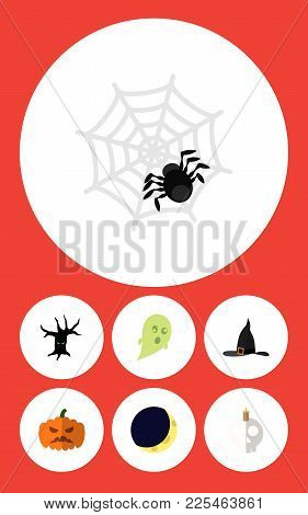Icon Flat Halloween Set Of Half Moon, Gourd, Ghost And Other Vector Objects. Also Includes Cranium,
