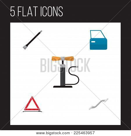 Icon Flat Auto Set Of Pumping Air, Coupler, Emergency Stop And Other Vector Objects. Also Includes C