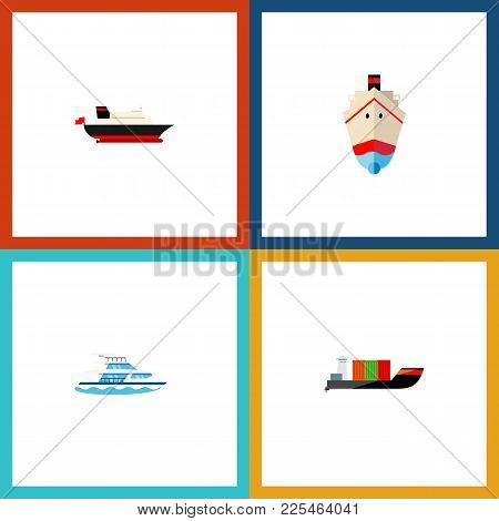 Icon Flat Ship Set Of Cargo, Shipping, Transport And Other Vector Objects. Also Includes Ship, Cargo