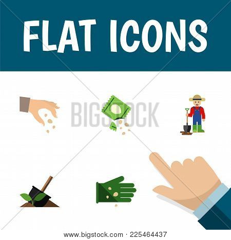Icon Flat Sow Set Of Hand, Shovel, Legume Vector Objects. Also Includes Seed, Shovel, Sow Elements.