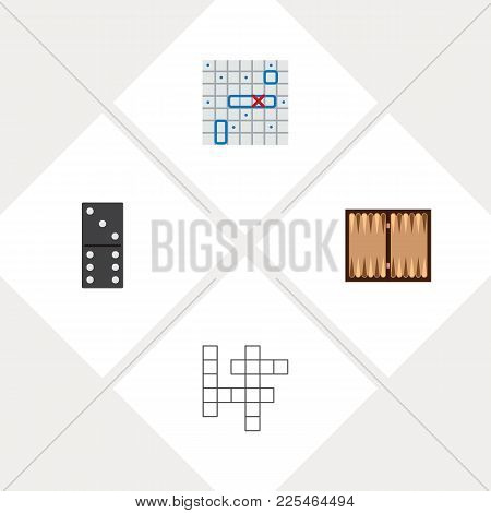 Icon Flat Entertainment Set Of Backgammon, Battle Ship, Domino And Other Vector Objects. Also Includ