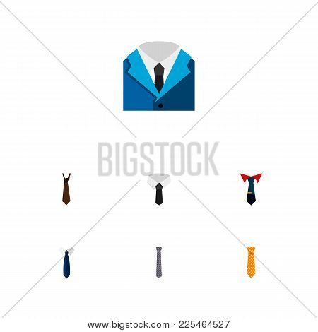 Icon Flat Clothing Set Of Cravat, Shirt, Necktie And Other Vector Objects. Also Includes Necktie, Cr